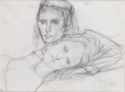 Léonard Tsugouharu Foujita, 'Les deux jeunes filles', 1950
