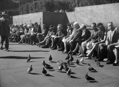 John Albok, 'Central Park (people sitting with pigeons)', 1946