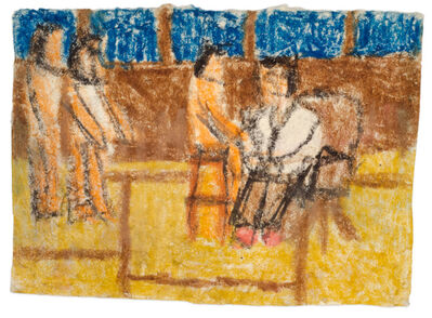 James Castle, 'Untitled (Figures with seated doctor)', n.d.