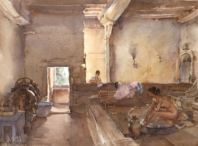William Russell Flint, 'The Chateau Bath, Equilly (Paméla Bathing)'