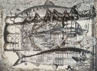 Jayashree Chakravarty, 'Man in his environment: Giant fish, face, Mixed Media in black & white by Indian Artist Jayshree Chakravarty', 2008