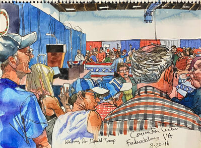 Steve Mumford, 'Waiting for Donald Trump, Fredericksburg, VA, Aug. 20, 2016', 2016