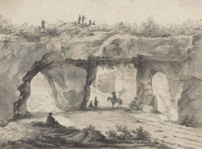 Jan Asselijn, 'A rocky outcrop covered in vines with figures over and below the tunnels (recto), Sketch of a wooded landscape (verso)'