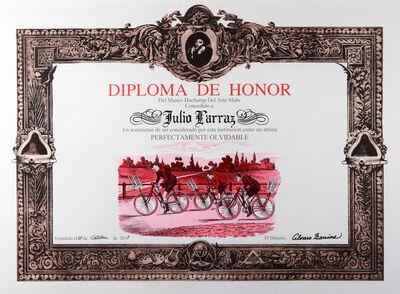 Álvaro Barrios, 'Diploma de Honor del Museo Duchamp del Arte Malo concedido a Julio Larraz en testimonio de ser considerado por esta institución como un artista perfectamente olvidable', 2011