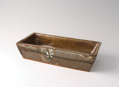 Tatsuzo Shimaoka, 'Rectangular dish, rope and slip inlay'