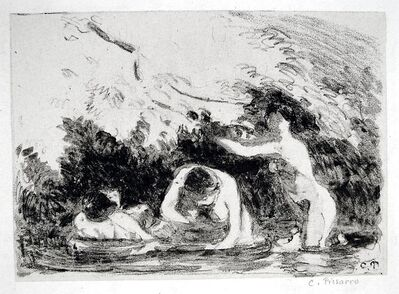 Camille Pissarro, 'Women Bathing in the Shade of Wooded Banks', 1894