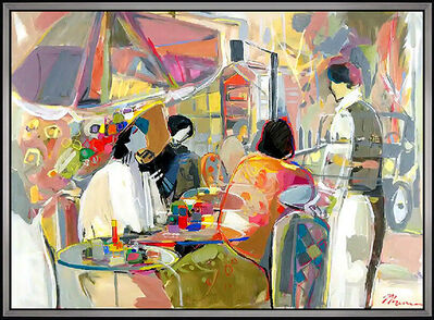 Isaac Maimon, 'ISAAC MAIMON Original Oil Painting On Canvas Signed Female Dining LARGE 36x50', 20th Century
