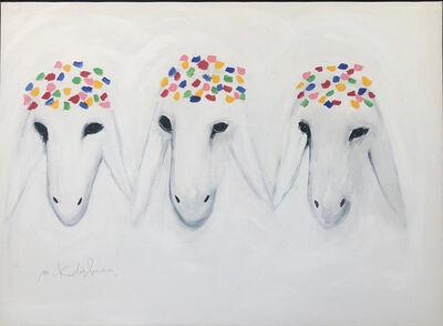 Menashe Kadishman, 'Three White Sheeps', ca. 1990