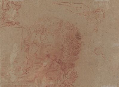 Jean-Antoine Watteau, 'Figure Sketches and a Copy After a Sculpted Head [verso]', ca. 1715/1716
