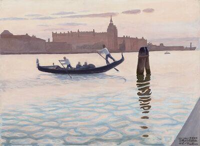 Cagnaccio Di San Pietro, 'Il tramonto e la gondola', 1939