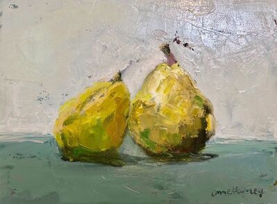 "Anne Harney, '""The Duo"" oil painting of two green pears leaning on each other', 2018"
