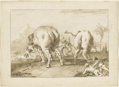 Giovanni Domenico Tiepolo, 'Two Rampaging Elephants', 1790s