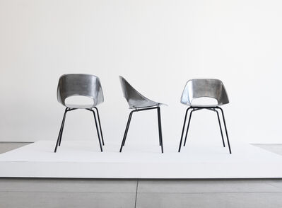 "Pierre Guariche, 'Set of Three ""Tonnaeu"" Cast Aluminum Chairs', ca. 1950"