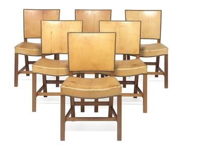 Kaare Klint, 'The Red Chair. A set of 12 chairs with profiled mahogany frame. Seat and back upholstered with patinated natural leather, fitted with brass nails.'