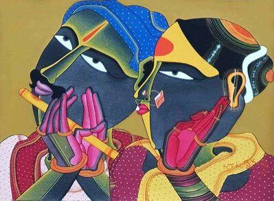 "Thota Vaikuntam, 'Telengana Couple, Acrylic, Charcoal on Paper by Modern Artist ""In Stock""', 2018"