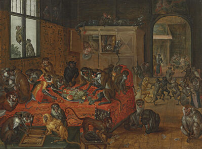 Circle of Jan van Kessel I, 'Monkeys playing games, eating and dancing in an interior'
