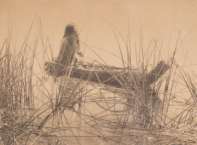 Edward Sheriff Curtis, 'Pomo Seed-Gathering Utensils and Canoe of the Tules-Pome (2 works)', circa 1907
