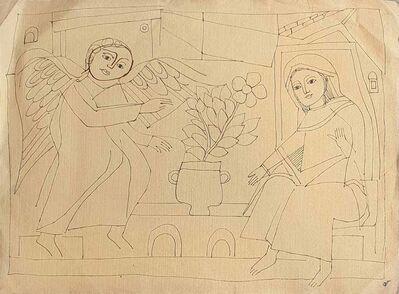 "Badri Narayan, 'Angel with Woman, Drawing, Ink on paper by Padmashree Artist ""In Stock""', ca. Circa"