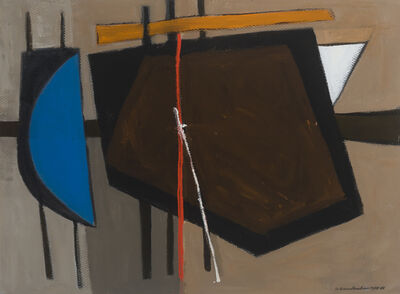 Wilhelmina Barns-Graham, 'Brown with Blue (Geoff and Scruffy Series)', 1988