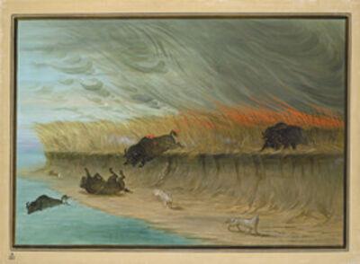 George Catlin, 'Prairie Meadows Burning', 1861/1869