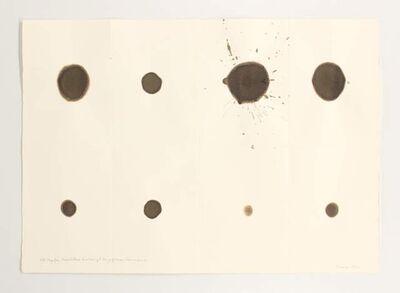 Dóra Maurer, '150 tropfen nussholzbeize durchdringt 8 x gefaltetes fabrianopapier ', 1972