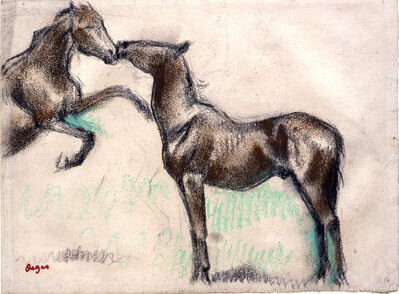 Edgar Degas, 'Two Horses, One Nuzzling the Other', 1881-1885