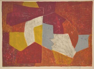 Serge Poliakoff, 'Composition in carmin-red, brown, yellow and grey n°11 ', 1956