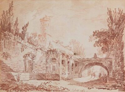Hubert Robert, 'Figures on a road beside a walled village, a cart beyond the bridge', 1760