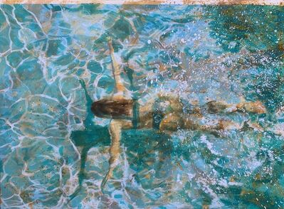 "Carol Bennett, '""Break Time"" abstract mixed media painting of a woman swimming under turquoise water', 2020"