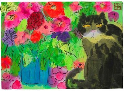 Walasse Ting 丁雄泉, 'Bouquet with Cat', 1998