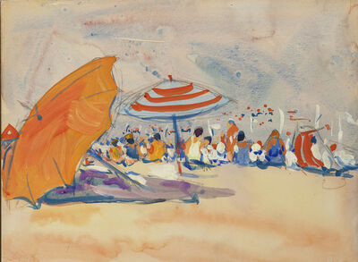 Jane Peterson, 'Beach Umbrellas', ca. 1910-1920
