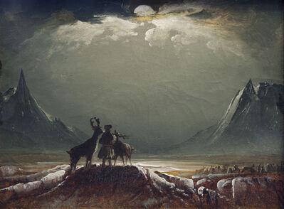 Peder Balke, 'Landscape from Finnmark with Sámi and Reindeer', about 1850