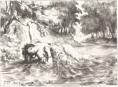 Eugène Delacroix, 'The Death of Ophelia (Act IV, Scene VII)', 1843