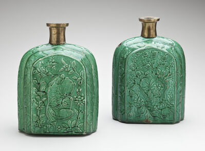 'Pair of Pilgrim Bottles with Molded Floral and Figural Motifs; Iran', Early 17th century