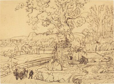 Joseph Anton Koch, 'The Roman Campagna with an Ancient Fountain', 1795-1805