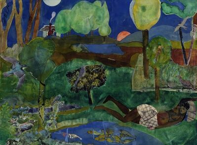 Romare Bearden, 'Green Times Remembered - Recollection Pool', 1970
