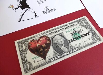 Banksy, 'BANKSY DISMALAND US DOLLAR HEART, DISMAL DOLLAR, COMPLETE WITH COA ', 2015