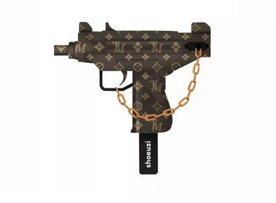 Supreme X Uzi, 'Shoeuzi Trademark LV Louis print Gold Brown Street Art Sculpture Supreme KAWS', 2020