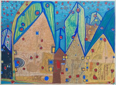 Friedensreich Hundertwasser, 'Houses in Rain of Blood | Häuser im Blutregen', 1961