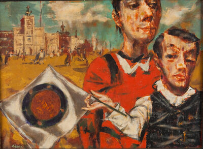 David Aronson, 'Landscape with Figures and Flags', 1949