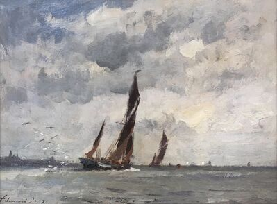 Edward Seago, 'Barges in the Harwich Estuary', ca. 1950