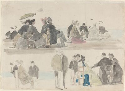 Eugène Boudin, 'Ladies and Gentlemen on the Beach, in Two Registers', ca. 1865