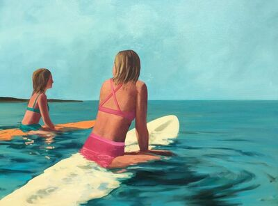 T.S. Harris, '''Waiting for Waves'' oil painting of two girls in bikinis floating on surfboards', 2019