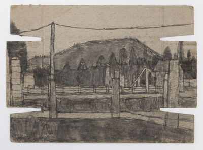 James Castle, 'Untitled (Garden Valley landscape with totems and power lines)', n.d.