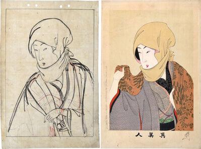 Yoshu Chikanobu, 'Preparatory Drawing with Print of 'True Beauties: No. 15, Head Scarf'', ca. 1897