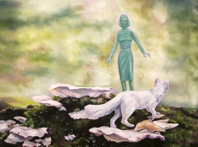 Kendra Lynn Bulgrin, 'Green Woman & Arctic Fox on Forest Floor', 2017