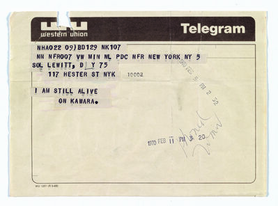 On Kawara, 'Telegram to Sol LeWitt', February 5-1970