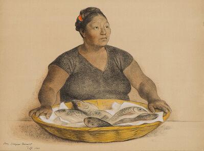 Francisco Zúñiga, 'Mujer con Pescados (Woman with Fish) (B. 58)', 1980