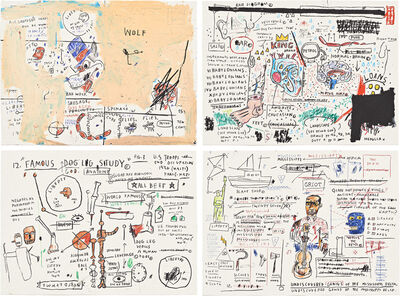 Jean-Michel Basquiat, 'Wolf Sausage, King Brand, Dog Leg Study and Undiscovered Genius', 1982-83/2019