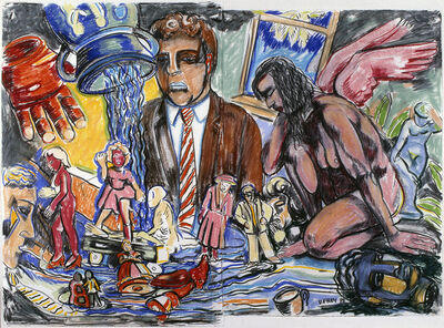 Viola Frey, 'Artist's Mind/Studio/World: Man in Brown Suit and Pink Angel', 1988